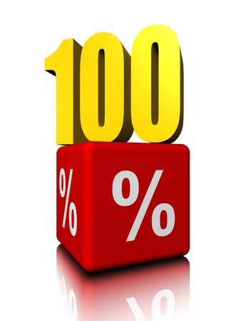 Hundred up above red cube percent