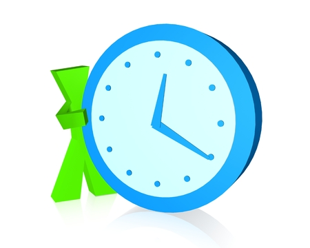 appear: 3D Character showing the Time Stock Photo