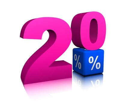 Pink twenty  with blue precent cube Banco de Imagens