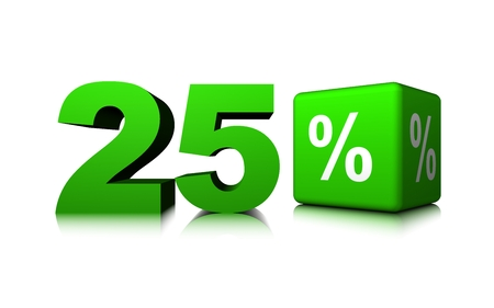 Green twenty with green precent cube Banco de Imagens