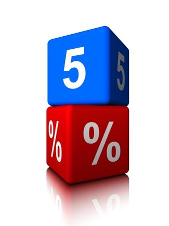 Blue five with red precent cube Banco de Imagens
