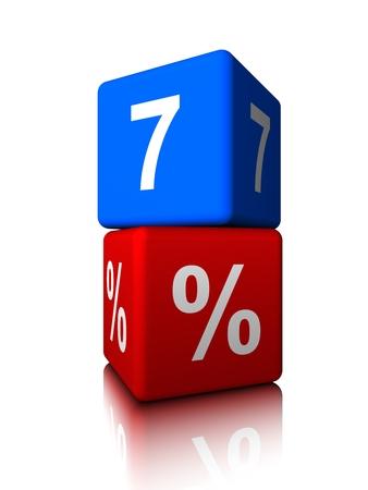 Blue seven with red precent cube Banco de Imagens - 34147987
