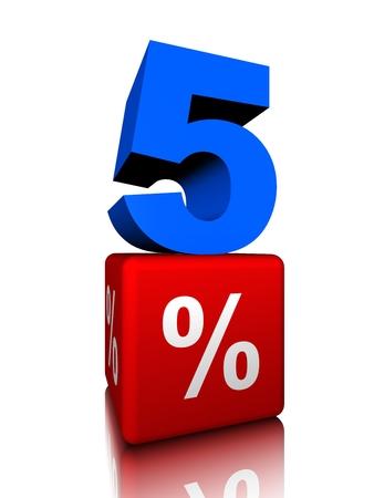 Blue five with red precent cube Banco de Imagens - 34148133