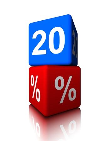 Blue twenty with red precent cube Banco de Imagens - 34150099