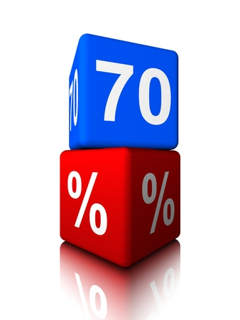 seventieth: Blue seventy with red precent cube Stock Photo