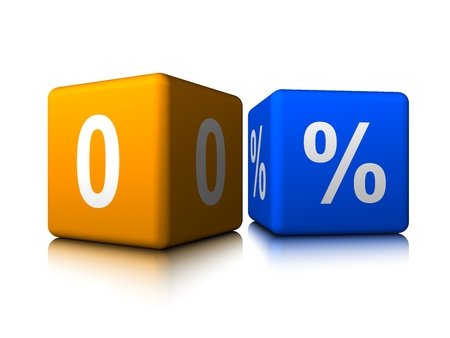 Yellow zero with blue precent cube Banco de Imagens