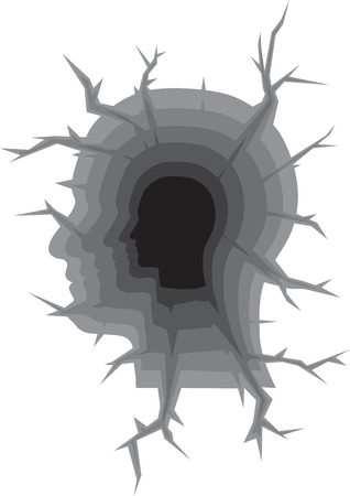 hape: Hape Testa umana come Crack Terra Vettoriali