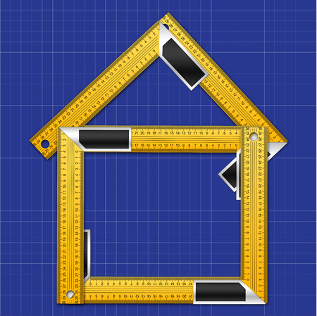 House Made of Iron Rulers with angle bar on Blueprint Background