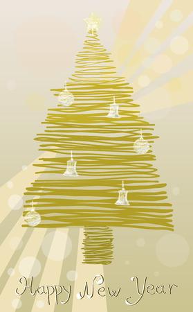 luminary: Happy New Year with golden tree
