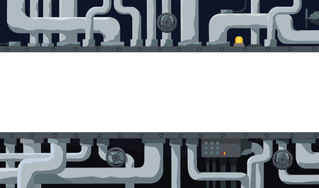Background with pipeline, valves, and text field in the center Vector