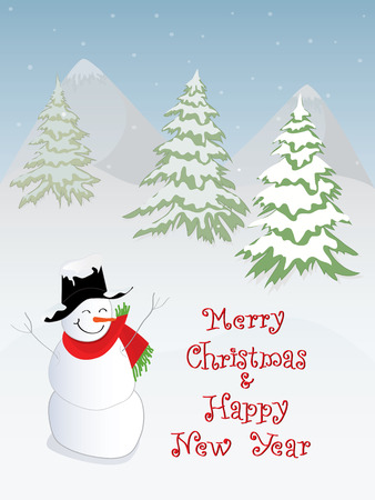 x mas parties: Merry Christmas theme with Christmas tree and snowman