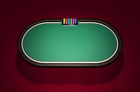 Realistic Poker Table Stock Photo