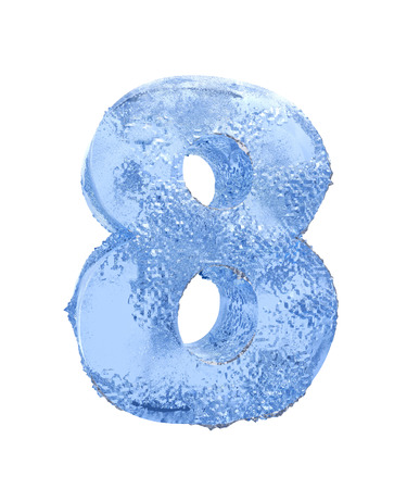 frost bound: Icy number Eight Stock Photo