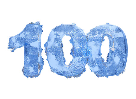 frost bound: Icy number One hundred Stock Photo