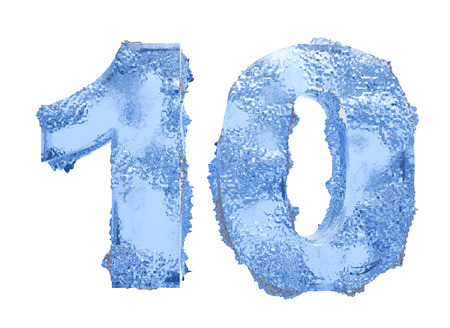 frost bound: Icy number Ten Stock Photo