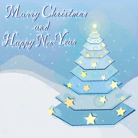 Marry Christmas and Happy New Year - greeting card