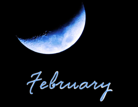 waxing gibbous: Blue moon and february word