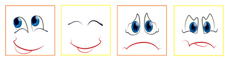 Set of faces with various emotion expressions