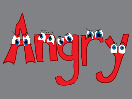 Angry theme with funny eyes on gray background Ilustração