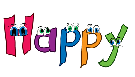 Happy theme with funny eyes on white background