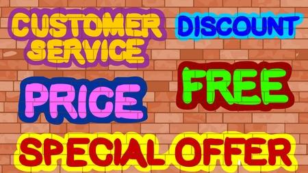 Customer Service, Discount, Price, Free, Special Offer Banco de Imagens