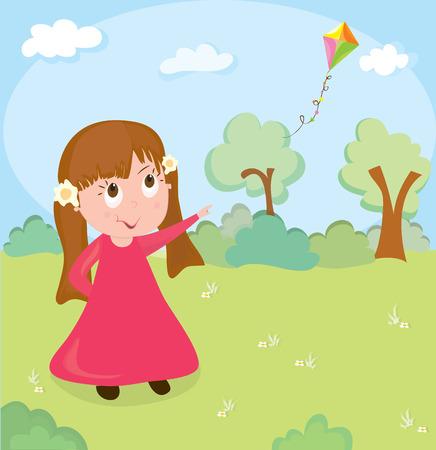 Little girl and flying kite