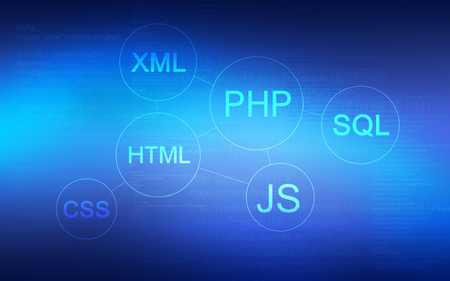 Abstract background with Web programming Script