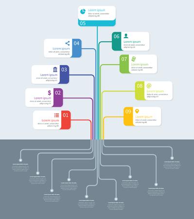 Tree process mindmap vector infographics Illustration