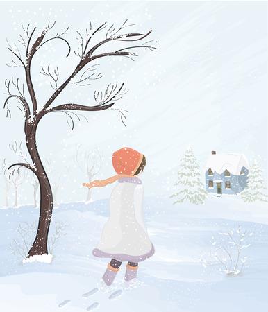Little girl walks to her home on a windy day Ilustração