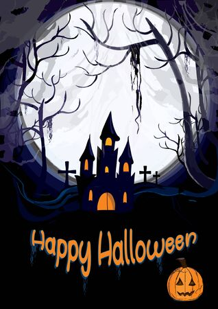 Scary halloween october card for halloween, with a full moon and a haunted dark scary house with a graveyard in the background, and a pumpkin. Standard-Bild