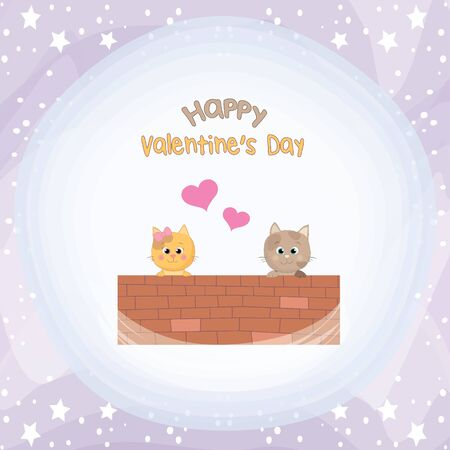 Valentine's day-card with two cute cats