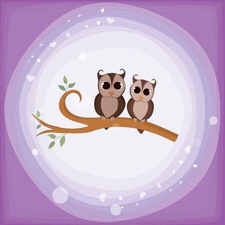 Two owls on a branch Illusztráció