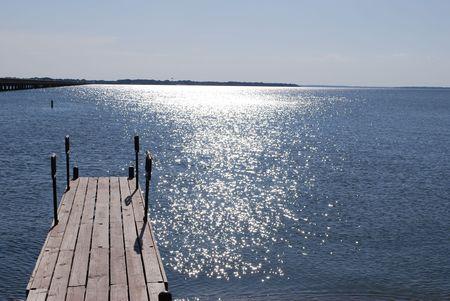 Dock over lake Stok Fotoğraf