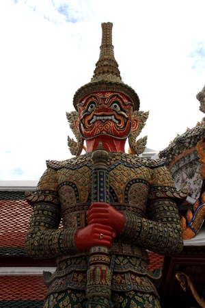 Giant sculpture in Wat Phra Kaew Temple, Thailand Stock Photo
