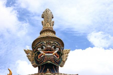 Giant sculpture in Wat Phra Kaew Temple, Thailand photo