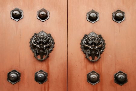 Door handle developing Chinese traditional style - Dragon head brass on wood door