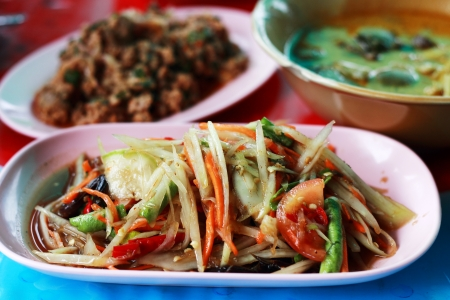 Papaya salad  Som Tam  - Traditional Thai food, Northeastern Style of Thailand Stock Photo
