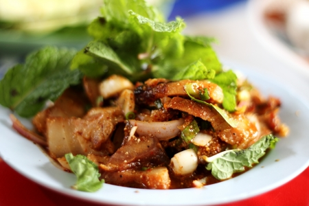 Nam Tok - Traditional Thai food, Northeastern Style of Thailand  Isaan  Stock Photo