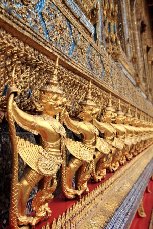 Detail of a Garuda decoration outside the ubosoth - Wat Phra Kaew temple in Bangkok, Thailand Grand Palace Stock Photo