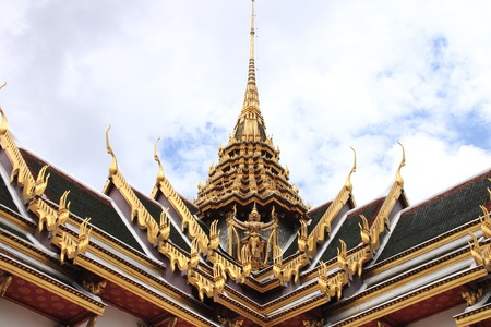 The roof Thai architecture in Wat Phra Kaew - Bangkok, Thailand