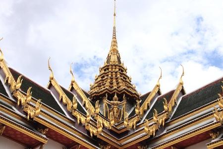 The roof Thai architecture in Wat Phra Kaew - Bangkok, Thailand