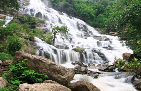 Mae Ya Waterfall at Doi Inthanon, Chiang Mai, Thailand Stock Photo