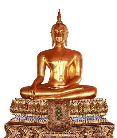 Gold Buddha statue on white background Wat Pho, Bangkok, Thailand  Isolation