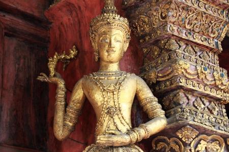 Kinnari decorated on the door at Wat Phra Sing, Chiang Mai, Thailand