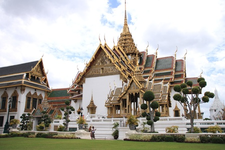Wat phra kaew, the Temple of the Emerald Buddha, is one of the main landmark of Bangkok, Thailand  Stock Photo