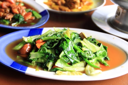 Stir-fried mixed vegetables of Thai style