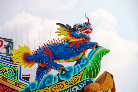 Dragon on the roof in the temple Chinese architecture