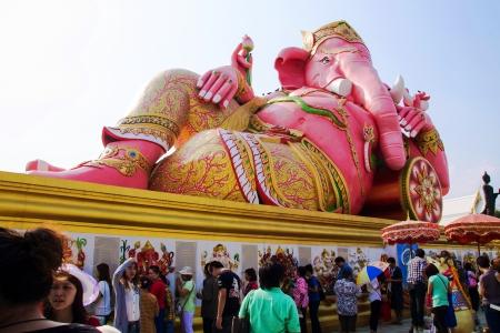 Reclining elephant head god at Wat Samarn Rattanaram, Chachoengsao, Thailand