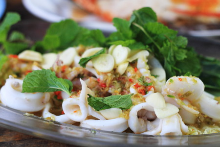 Spicy squid with lemon salad, Traditional Thai style seafood