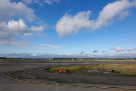 Seattle, WA/USA-9/16/19:A view of the runway at the Seattle airport. Stock Photo